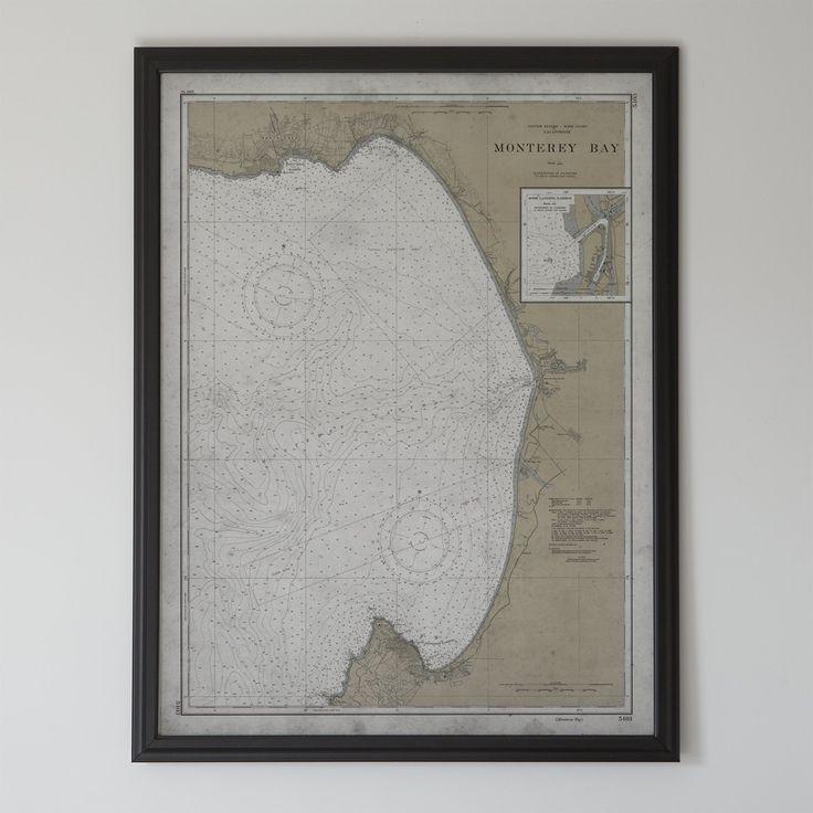Monterey Map:FRAMED Hardwood MATTE BLACK 20th C. Nautical Map Monterey Bay, California