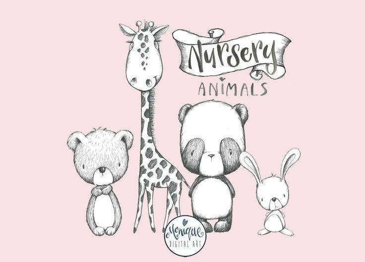 Clipart Woodland Nursery Animals,black and white,cute nursery animals,giraffe, bear, panda, bunny, planner stickers, planner girl,embroidery by MoniqueDigitalArt on Etsy
