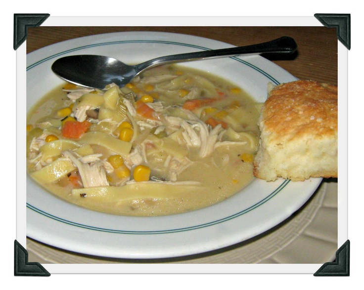 I made the crockpot chicken noodle soup and the biscuits from recipes I got off Pinterest - they were DELICIOUS!!! Check out my recipe boards to find them.  Seriously, this is so good, don't wait for cold weather.