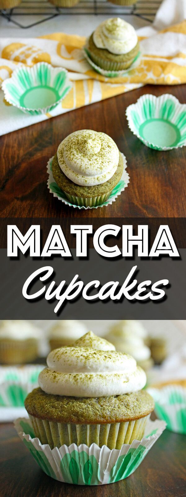 These delicate Matcha Green Tea Cupcakes are topped with light and fluffy whipped cream. They taste just like a Starbucks Matcha green tea Frappuccino! | wildwildwhisk.com #matcha #greentea #cupcakes