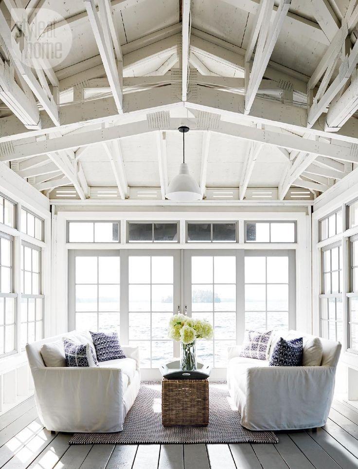 Bright sunroom - House tour: Neutral nautical lake house
