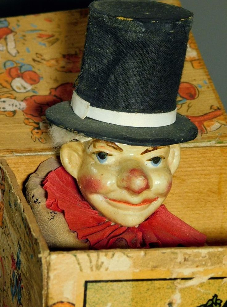 Victorian Toy Punch & Judy Mr Punch Jack in the Box Squeeker Paper Mache Germany