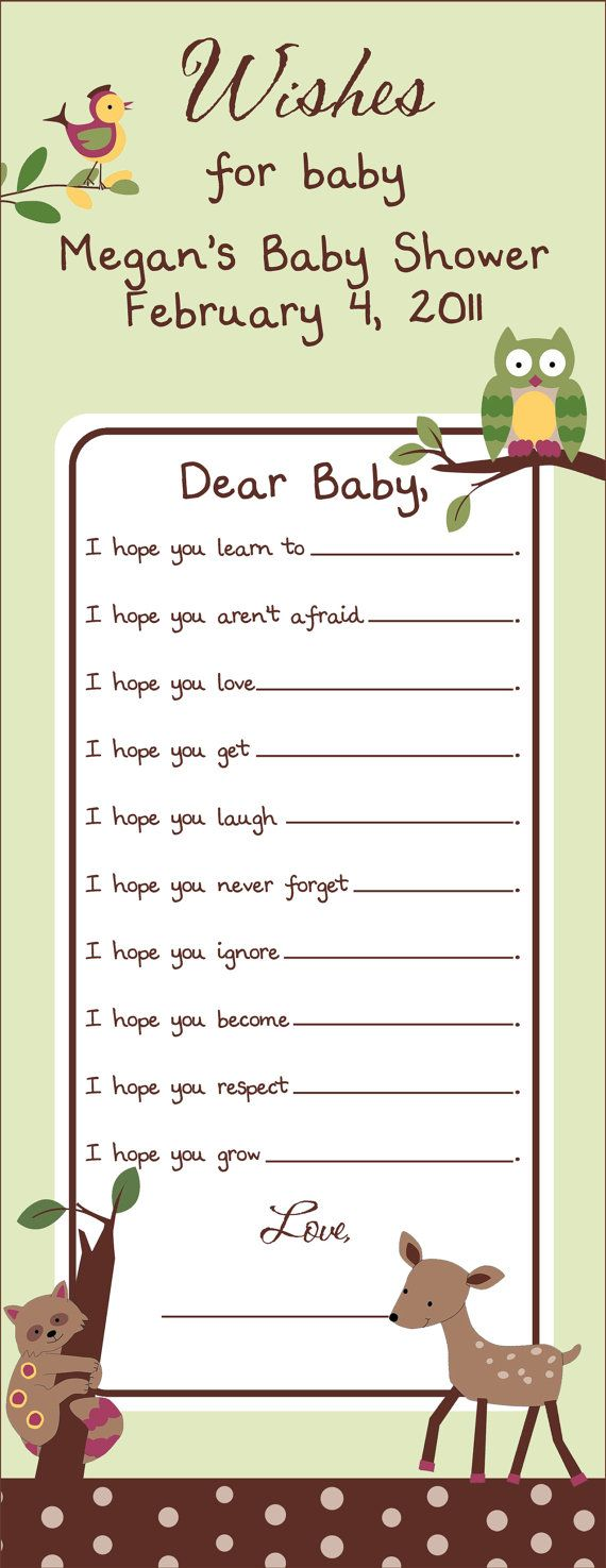 Enchanted Forest Baby Shower WISH Game