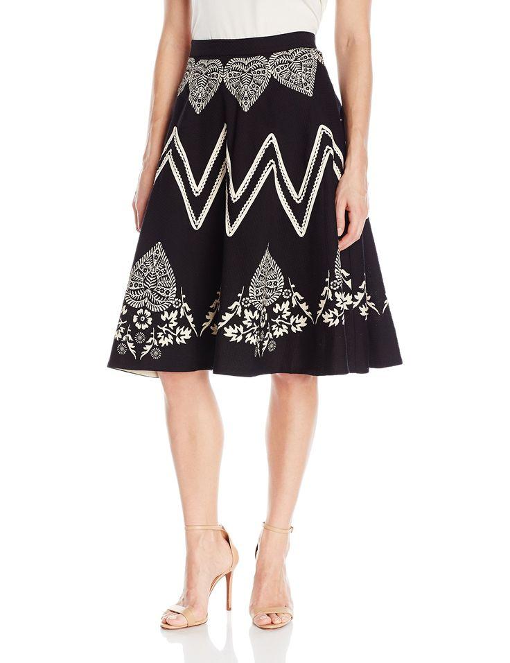 Plenty by Tracy Reese Women's Bandana Placement Skirt, Black/Bone, 10