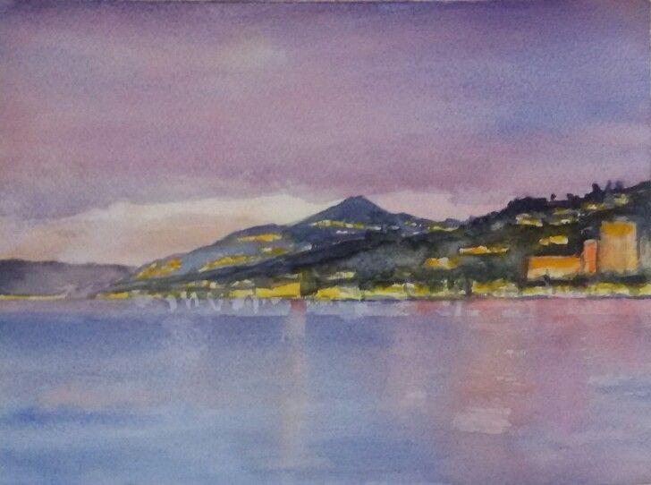 #watercolours #switzerland #lavaux #montreux #lake #mountains www.sandragianesini.com