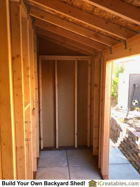 Storage shed with pent roof wall framing. #shedplans in ...