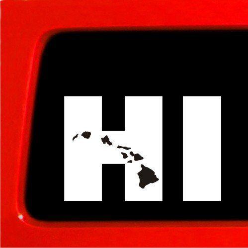 Hi hawaiian islands vinyl window decal car bumper sticker free shipping hawaii sticker connection