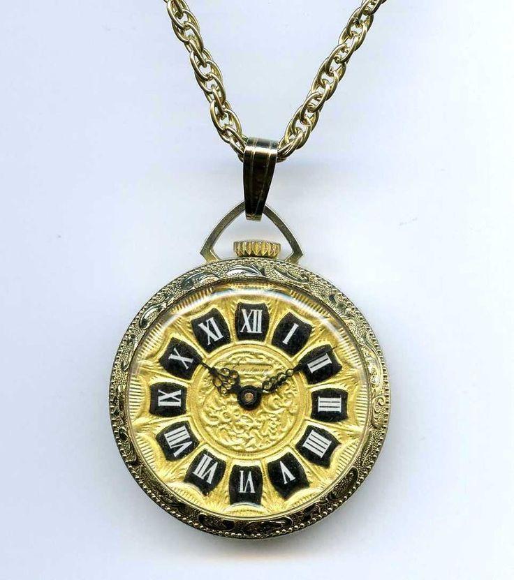 Vtg Eastman Rega Israel Swiss 1J Goldtn Pendant Necklace Pocket Style Watch TLC #Eastman