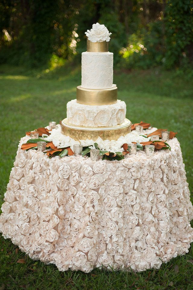 rosette satin tablecloths are amazing for cake table decor
