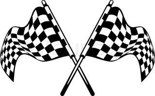 Zwaaien gekruist zwart-wit geblokte vlag