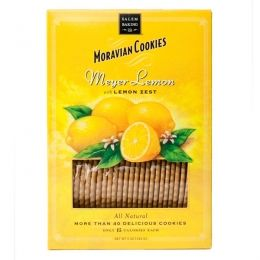 Our bright and joyful Meyer Lemon Moravian Cookies  are baked with cold pressed lemon oil, full flavor vanilla and grated lemon zest.