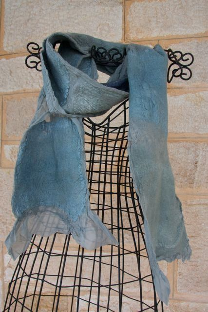 A personal favorite from my Etsy shop https://www.etsy.com/listing/236204500/nuno-felted-scarf-in-frosted-green-with
