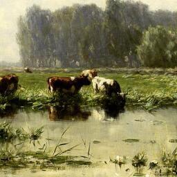 Willem Roelofs, Koeien aan de waterkant bij het Gein, 1883. Coll. Dordrechts Museum.   Holland op z'n mooist.  Dordrechts Museum. 4 april-6 september 2015.