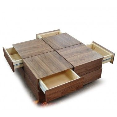 Contemporary walnut veneer square coffee table with drawers Soma
