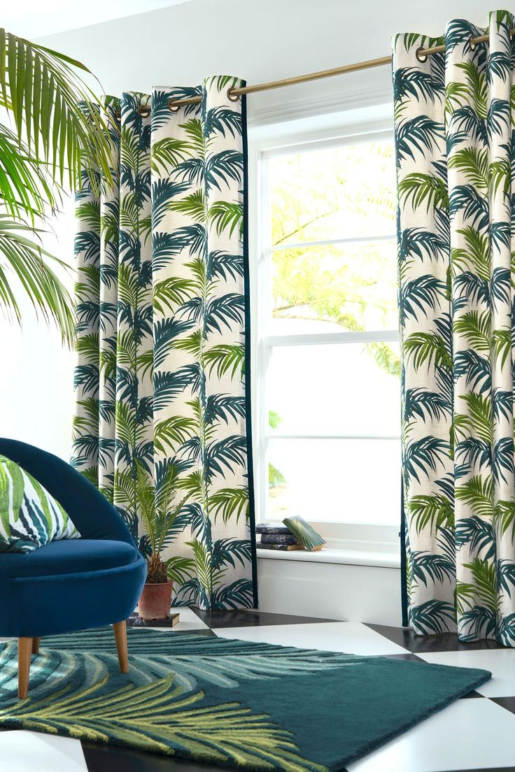 Buy Loreto Palm Leaf Print Eyelet Curtains from the Next