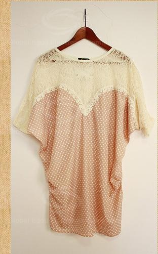 Cheap Casual Lace Embellished Matching Polka Dot Batwing Sleeves Scoop Neck Cotton Blend Blouse For Women