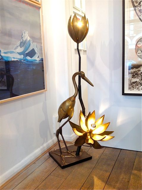 Maison jansen heron and lotus flower floor lamp signed by for Gold flower floor lamp