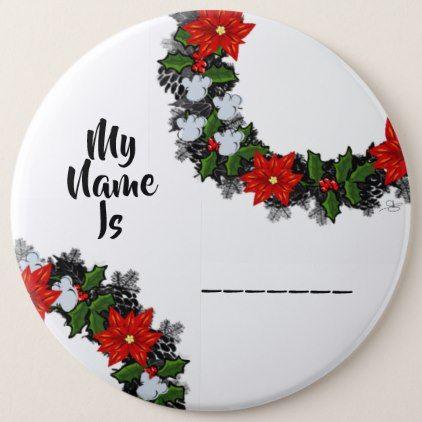 "Wreath ""Winter Roses"" Flowers Floral Vector Button - flowers floral flower design unique style"
