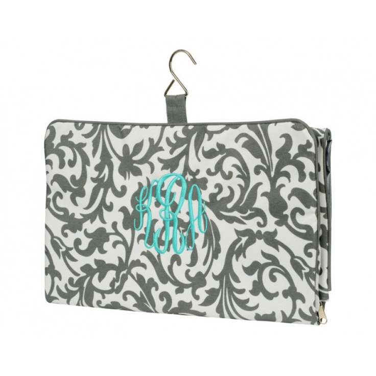 "Grey Floral Hanging Cosmetic Bag  Grey Floral Hanging Cosmetic Bag14"" L x 28"" HPolyesterHanging Tri-Fold DesignMultiple Compartments..."