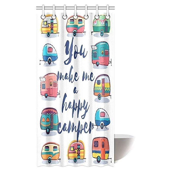 Amazon Com Camper Shower Curtain Set You Make Me Happy Camper Motivational With Caravans Retro Style With Images Bathroom Shower Curtains Camper Curtains Camper Bathroom