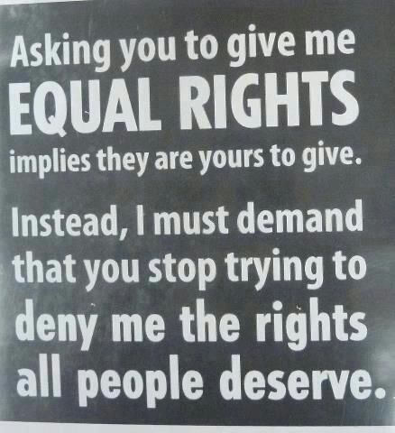 Stand up for whats right not for selfishness... Not your life not your rules. Most everything is equal, so why is this am exception.