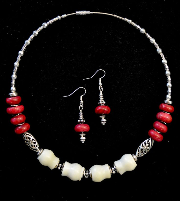 Beaded Necklace and Earrings, White and Dark Red Jade, Silver, Handmade Gemstone Necklace by LKArtChic on Etsy