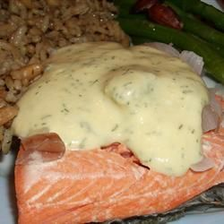 """Quick Poached Salmon with Dill Mustard Sauce Allrecipes.com  By: Karena    """"This is an easy, elegant, wonderful salmon dish with a no-cook sauce. It really doesn't get much easier. I love it best on swelteringly hot summer days. Fresh steamed asparagus goes very well with this, and the sauce tastes good on it as well."""""""