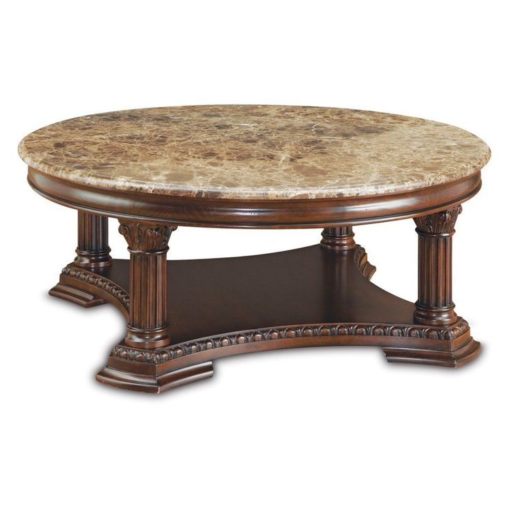 Round Marble Coffee Table Wooden Base - Coffee Tables Furniture
