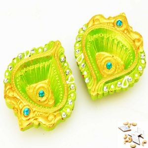 Buy set of two traditional yellow diya at low price from mebelkart.com