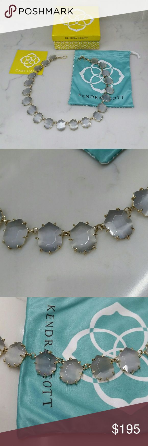 PRICE FIRM KENDRA SCOTT SAM STATEMENT NECKLACE Only 162 with 10% off coupon!  Kendra Scott Sam Statement Necklace  gold hardware grey cats eye slate stones  excellent excellent condition comes with yellow kendra box comes with blue kendra dust bag  super super small marks on some of the stones never worn, custom, see photos, looks almost new,  in excellent condition custom   gold plated over brass hardware beautiful statement necklace! classic grey slate cats eye  fast shipping signature…