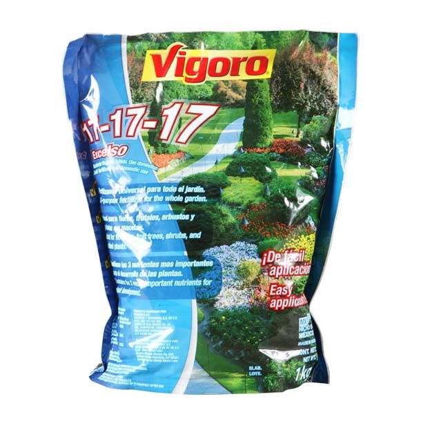 Fertilizante universal para todo el jardín. Ideal para flores. Frutales y arbustos. Contiene los 3 elementos mas importantes para el óptimo desarrollo de la planta: 17% de Nitrógeno. 17% de Fósforo. 17% de Potasio.