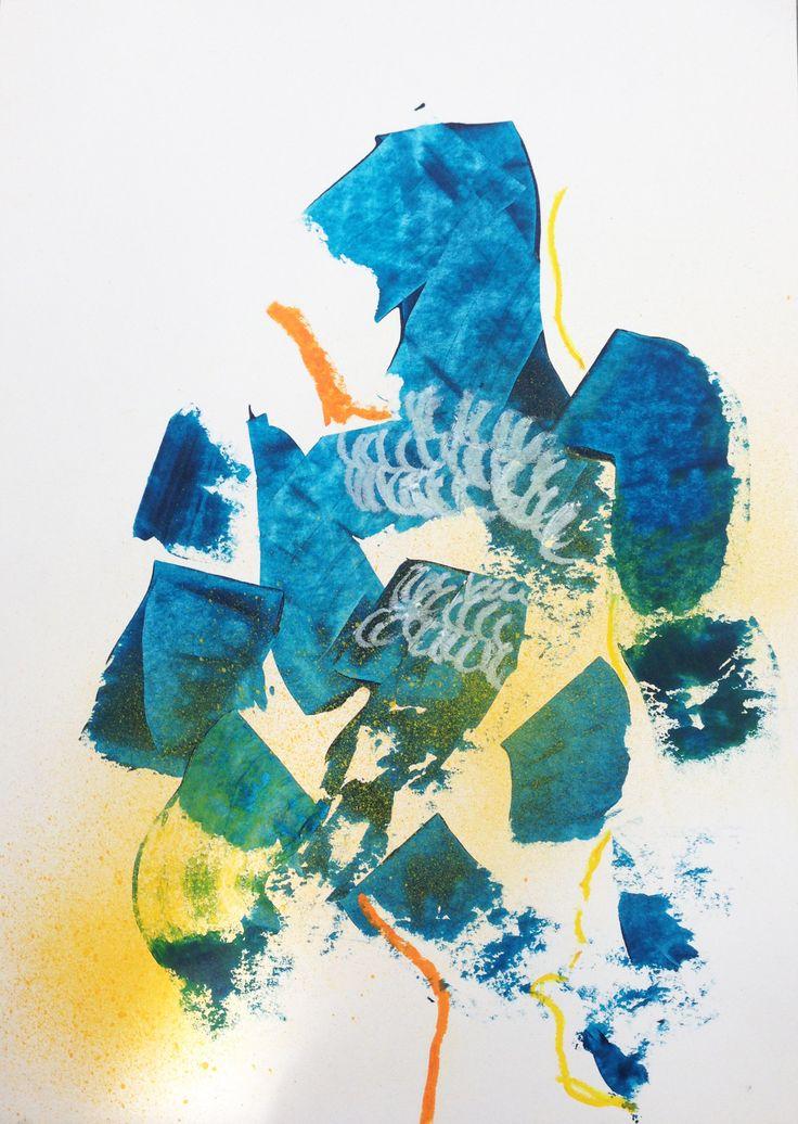 mixed media on paper // abstract art // abstract expressionism // blue art // maritaspeenart