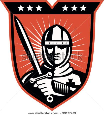 Illustration of a knight warrior crusader with long sword set inside shield done in retro style. - stock vector #knight #retro #illustration
