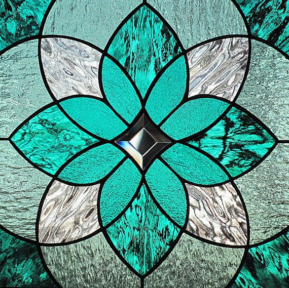 Teal Sea Green Stained Glass Beveled Hanging by LivingGlassArt, $125.00