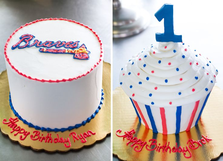 A pair of Atlanta Braves birthday cakes for a father and his son. Cake # 018.