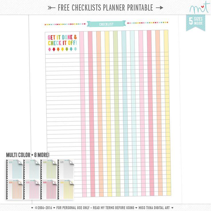 plannerfreebie Get it done and check it off with these free checklist printables in rainbow + 8 more colors! *Upd…
