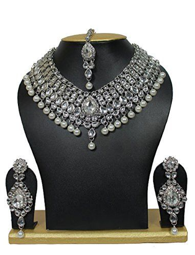 Elegant Traditional Indian Bollywood White Pearls Silver Tone Kundan Wedding Necklace Jewelry Set VVS Jewellers, http://www.amazon.com/dp/B01M6CQ4J7/ref=cm_sw_r_pi_dp_x_N8gGzbQEQ8JF9