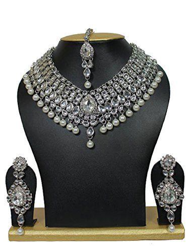 Elegant Traditional Indian Bollywood White Pearls Silver Tone Kundan Wedding Necklace Jewelry Set VVS Jewellers, http://www.amazon.com/dp/B01M6CQ4J7/ref=cm_sw_r_pi_dp_x_N8gGzbQEQ8JF9