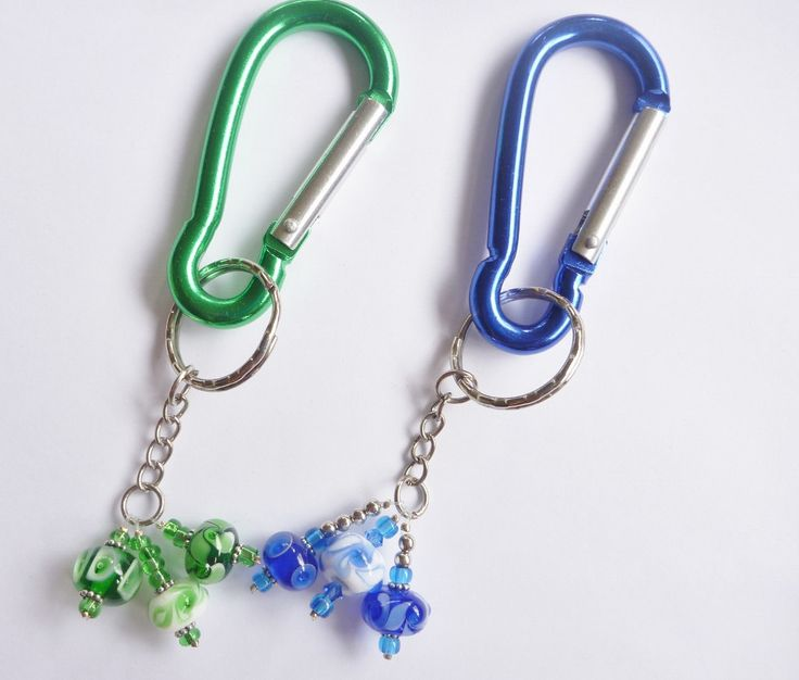 Key Ring carabiner style featuring Artisan Lamp-work Glass beads , by ChrysArtGlass on Etsy