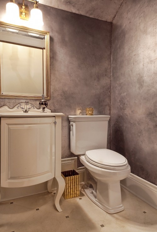 Silver Leaf Walls With Steel Wool Burnish Treatment  Very Cool For Master  Bathroom, Greys And Golds.