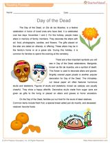 Day of the Dead Reading Passage & Vocabulary Printable (Grades 6-10) https://www.teachervision.com/celebrations-and-festivals/printable/75499.html