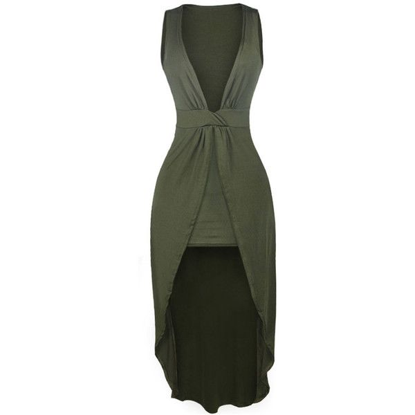Deep V-Neck Plain High-Low Maxi Dress ($34) ❤ liked on Polyvore featuring dresses, green maxi dress, deep v neck dress, deep v neck maxi dress, hi low maxi dress and short front long back dresses