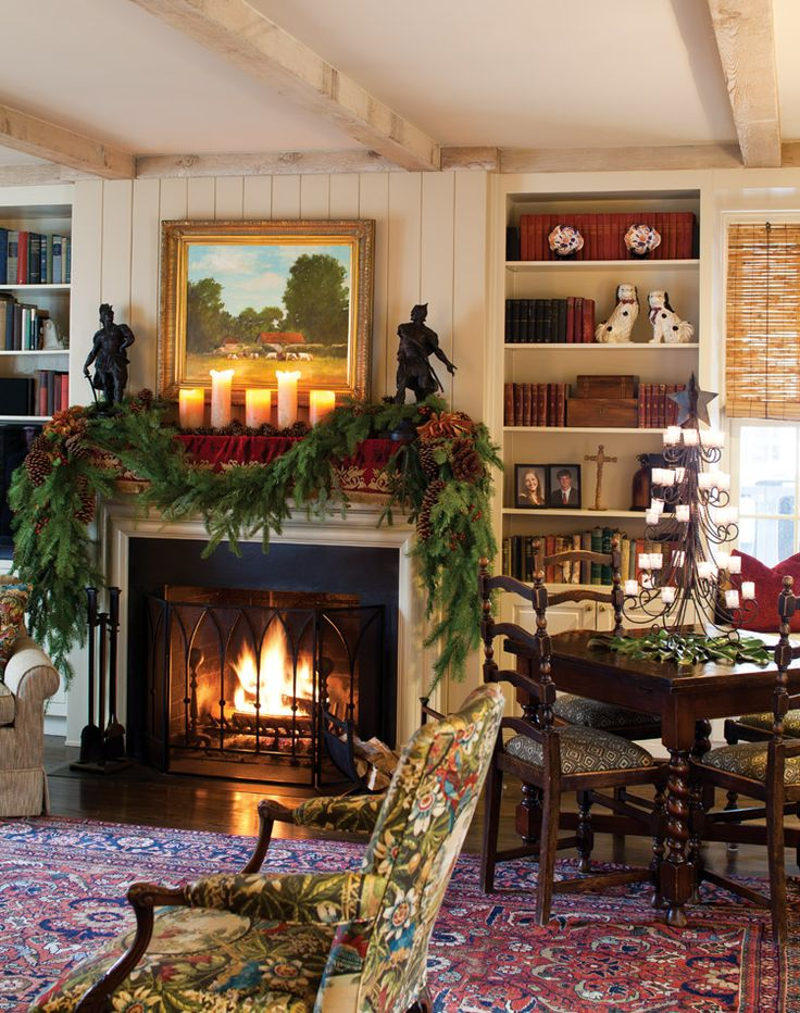 523 best english country decorating images on pinterest - Images of christmas decorated living rooms ...