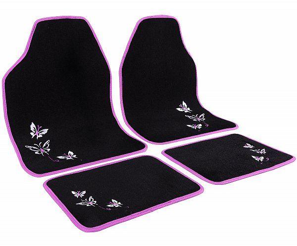 WOLTU AM7141 Auto Fußmatten Set UNI , Teppich , Stickerei Butterfly , Protector , 4-teilig , universal Matten , Rosa / Schwarz | Woltu