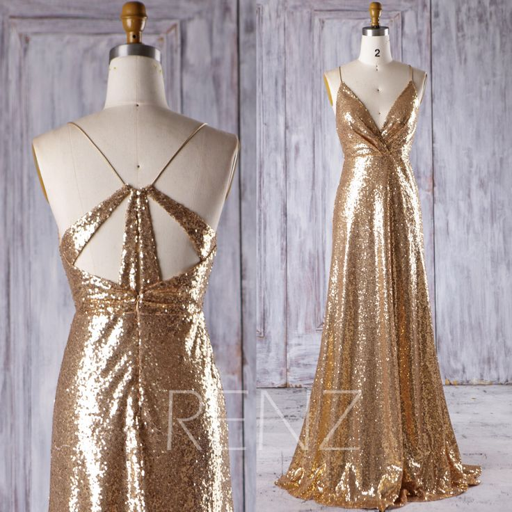 2017 Gold Sequin Bridesmaid Dress, Sexy V Neck Wedding Dress, Spaghetti Straps Prom Dress, Metallic Sparkle Ball Gown Floor Length (HQ398) by RenzRags on Etsy https://www.etsy.com/listing/489925416/2017-gold-sequin-bridesmaid-dress-sexy-v