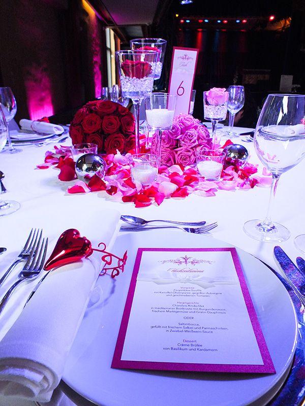 Menükarte 5x7, Hochzeit, Rot, Rouge, mit weißer Satinschleife