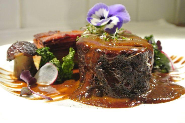 Veal /root veg gratin/forest mushrooms/plum demi-glace