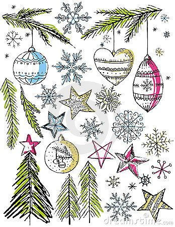 Christmas Decorative Hand Draw Elemants,