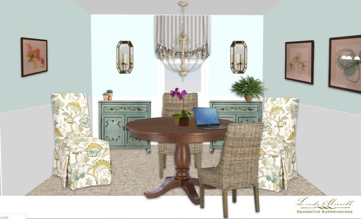 A sweet little dining room design for a virtual design client. Design and rendering by Linda Merrill. #virtual #design #edecor #edesign #dining #Room #light #blue #rattan #chairs #teal #cabinets