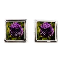 Purple Thistle Square Cufflinks